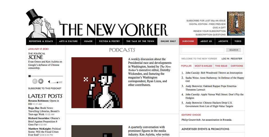 Webby Award Nominee - New Yorker podcasts