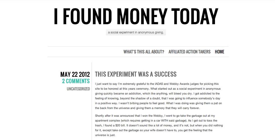 Webby Award Winner - I Found Money Today