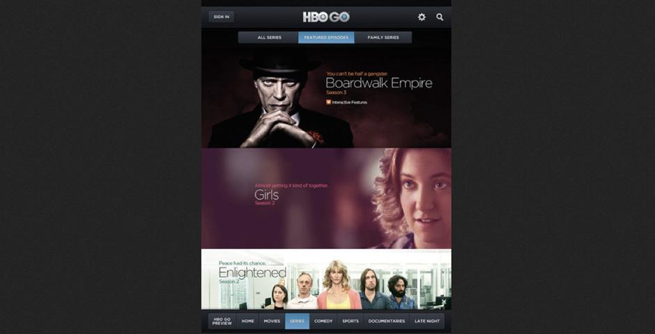 Webby Award Nominee - HBO GO iPad App