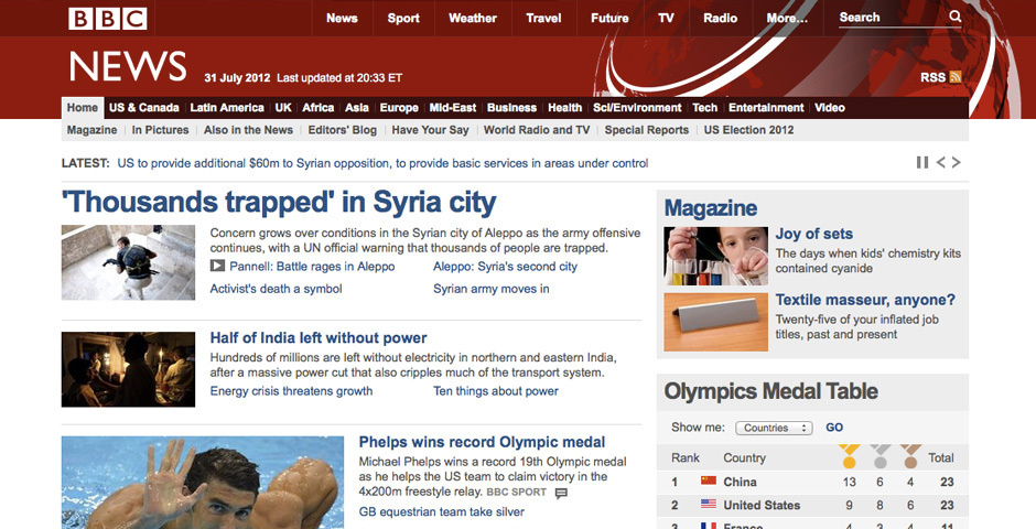 Webby Award Nominee - BBC News website
