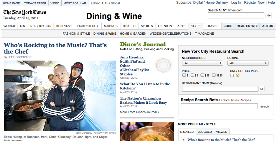 Nominee - The New York Times Dining & Wine