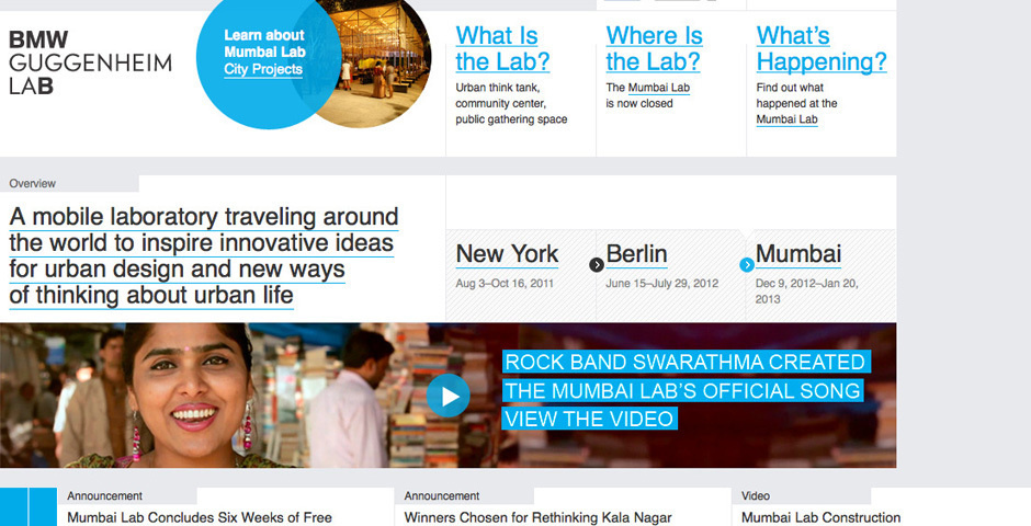 Webby Award Nominee - BMW Guggenheim Lab