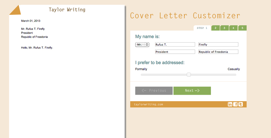 Nominee - Lisa Taylor's Cover Letter Customizer