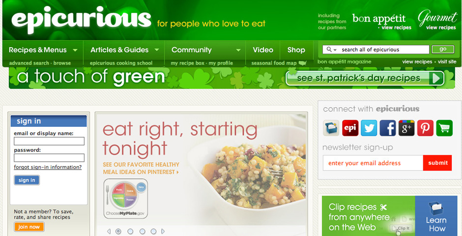 People's Voice / Webby Award Winner - Epicurious.com