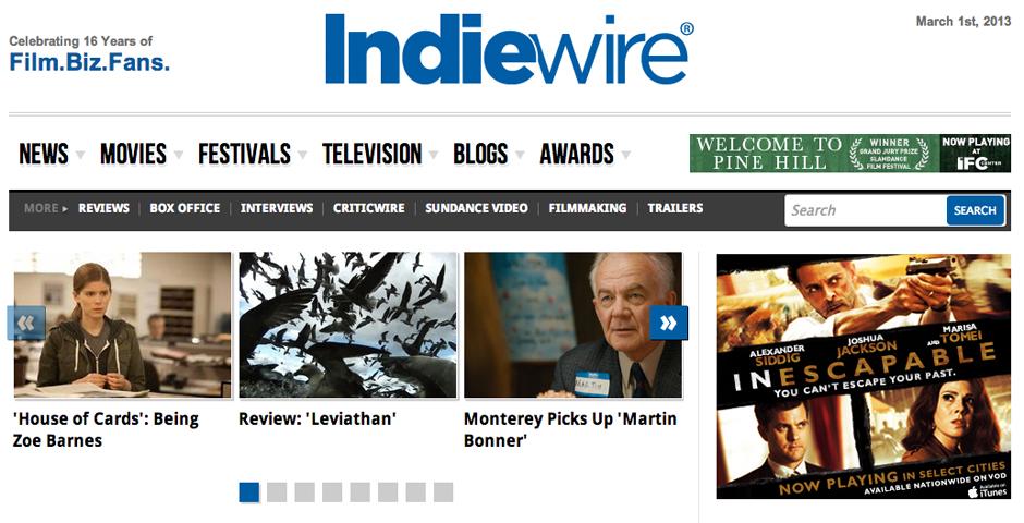 Webby Award Winner - Indiewire website