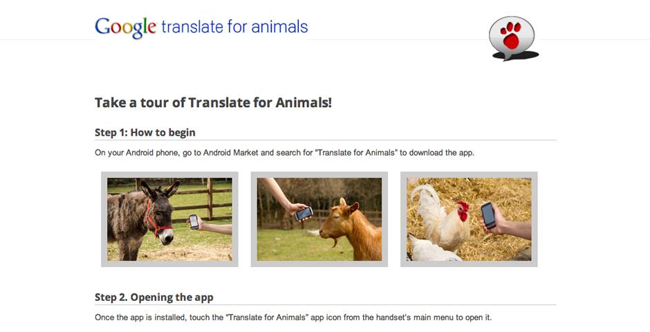 Webby Award Nominee - Google Translate for Animals