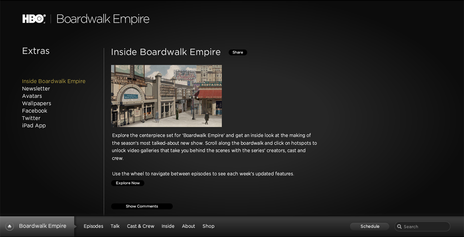 Webby Award Winner - Boardwalk Empire: Interactive Boardwalk