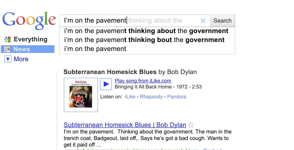 Webby Award Nominee - Google Instant with Bob Dylan