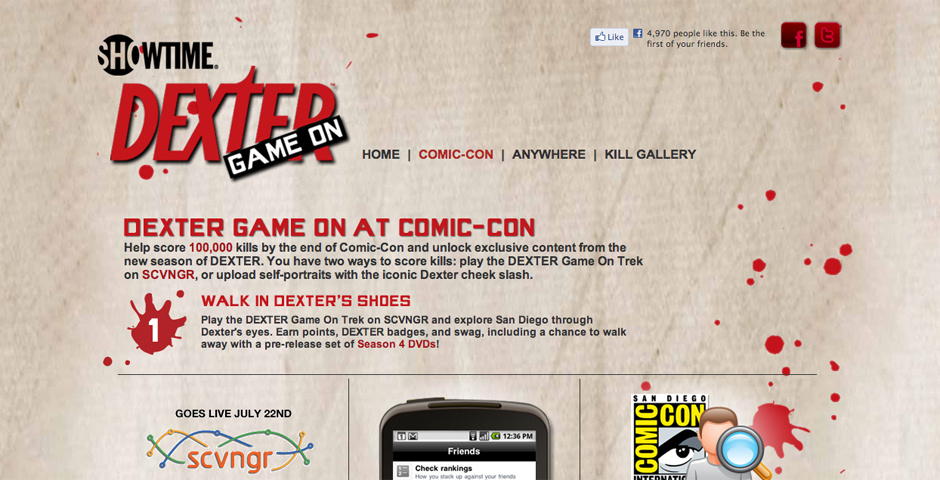 2011 Webby Winner - Dexter Game On