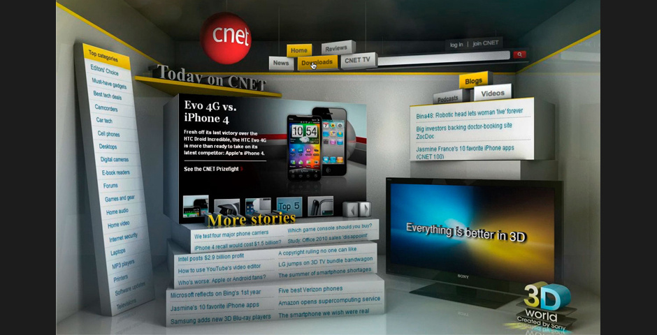 """2011 Webby Winner - Sony """"Everything Is Better In 3D"""" Page Takeover"""