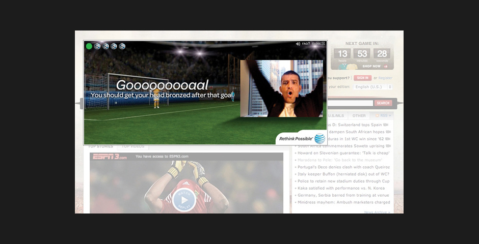 2011 Webby Winner - AT&T World Cup Headercam Banner