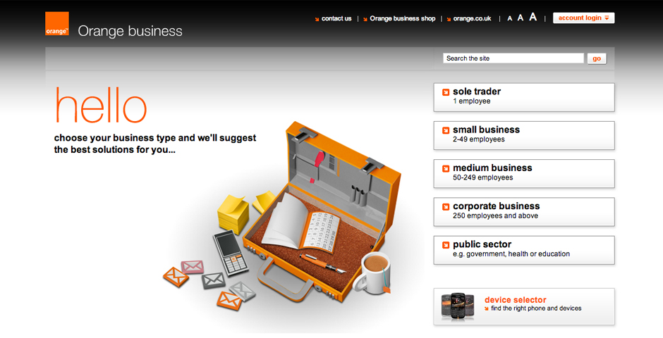 Nominee - Orange business website redesign