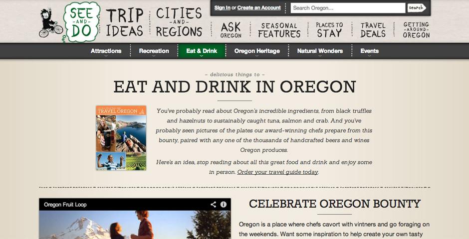 Webby Award Nominee - Oregon Food and Drink