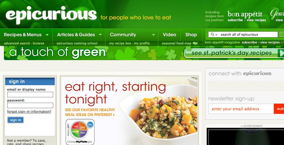 2010 Webby Winner - Epicurious.com