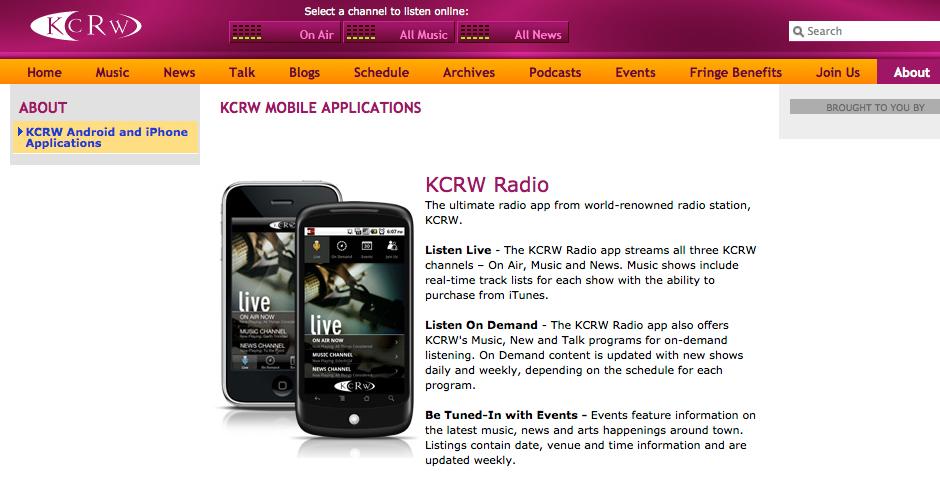 Nominee - KCRW Radio iPhone App