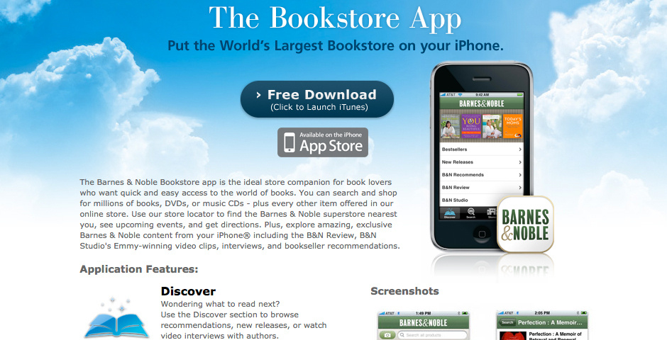 2010 Webby Winner - Barnes & Noble Bookstore app for iPhone
