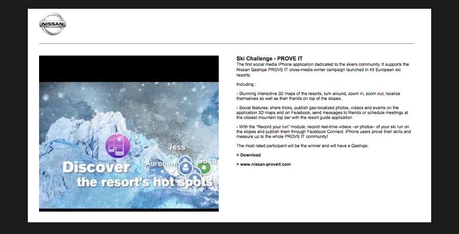 Nominee - NISSAN Ski Challenge PROVE IT