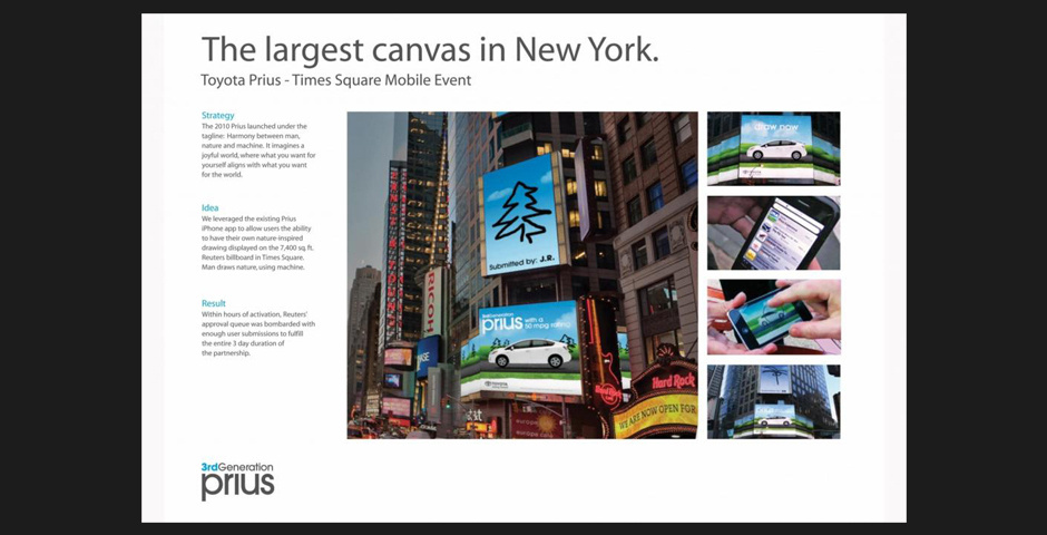 Webby Award Nominee - Prius iPhone Times Square Application