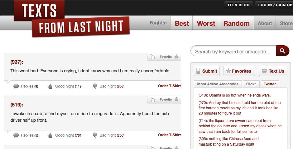 2010 Webby Winner - Texts From Last Night