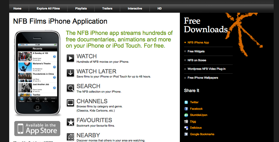 Nominee - NFB Films iPhone App