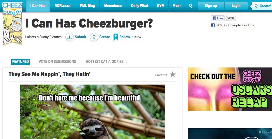 Webby Award Nominee - I Can Has Cheezburger?