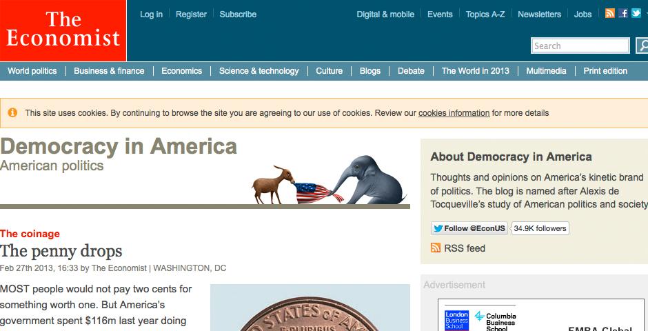 Nominee - The Economist online – Democracy in America blog. Political blog