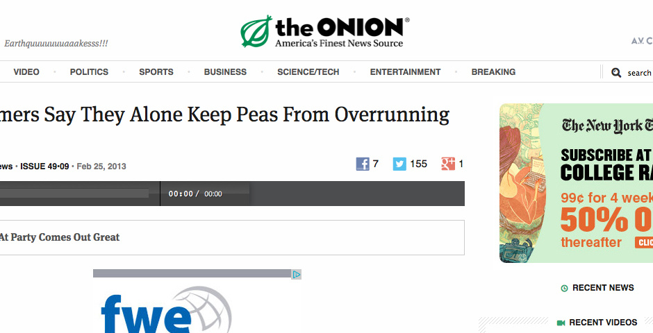 Webby Award Nominee - The Onion Radio News