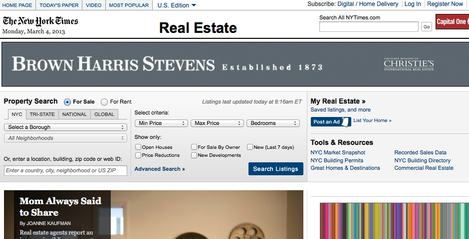 Nominee - The New York Times's Real Estate Section