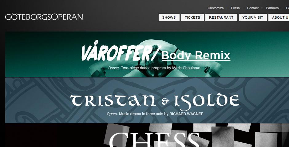 Webby Award Nominee - GoteborgsOperan\'s new website