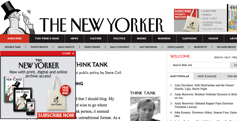Nominee - Think Tank by Steve Coll on newyorker.com