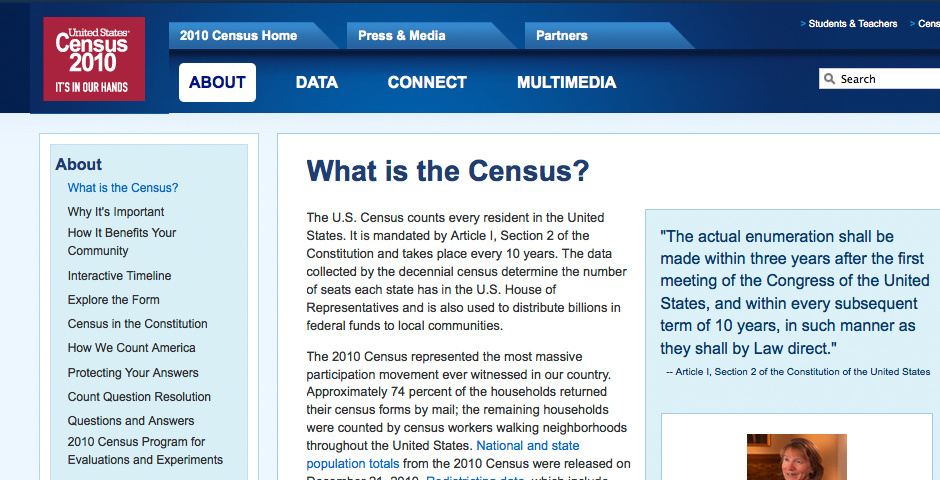 Webby Award Nominee - Census 2010