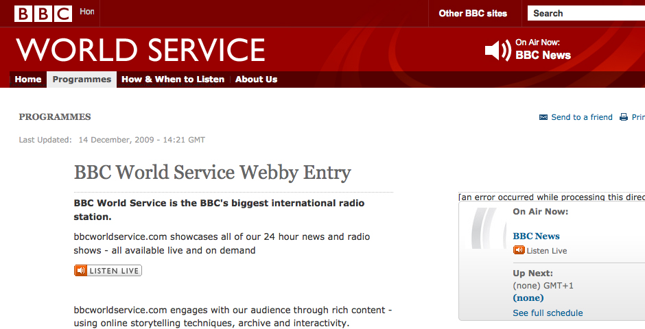Nominee - BBC World Service