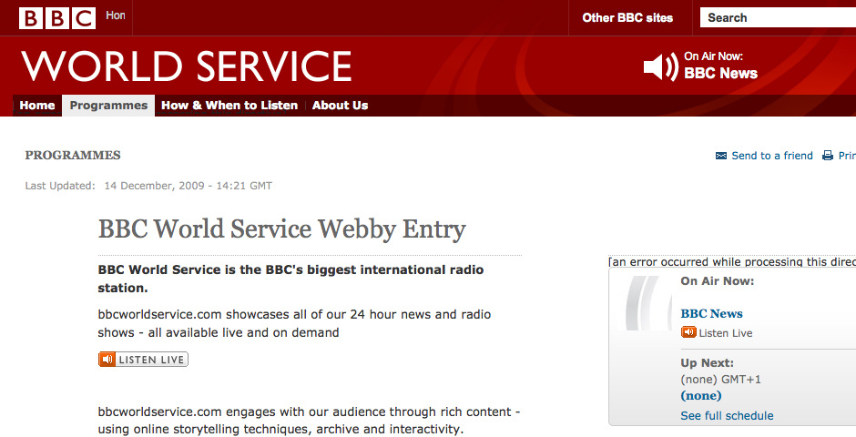 Webby Award Nominee - BBC World Service