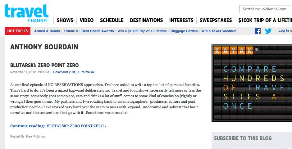 Nominee - Anthony Bourdain Blog