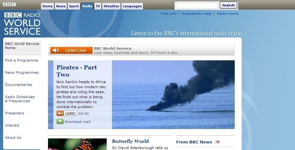 2008 Webby Winner - BBC World Service channel site