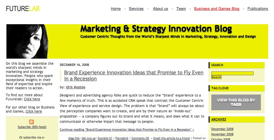 Nominee - Futurelab Marketing & Strategy Innovation Blog