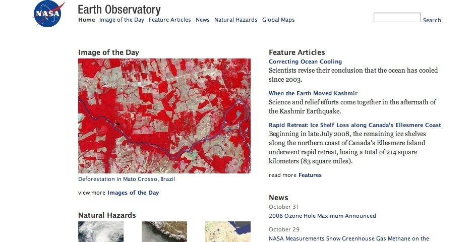 2008 Webby Winner - NASA\'s Earth Observatory