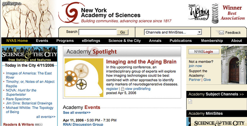 Webby Award Nominee - NewYork Academy of Sciences