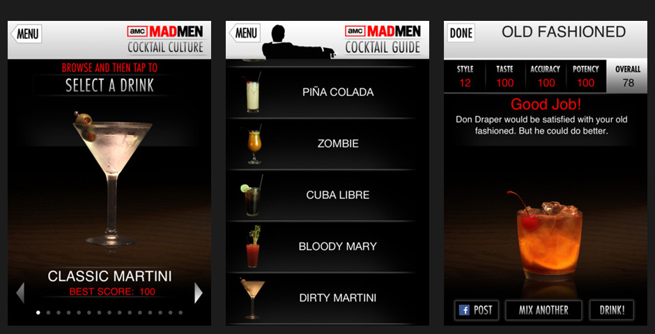 Webby Award Nominee - AMCtv.com -- Mad Men Cocktail Culture App