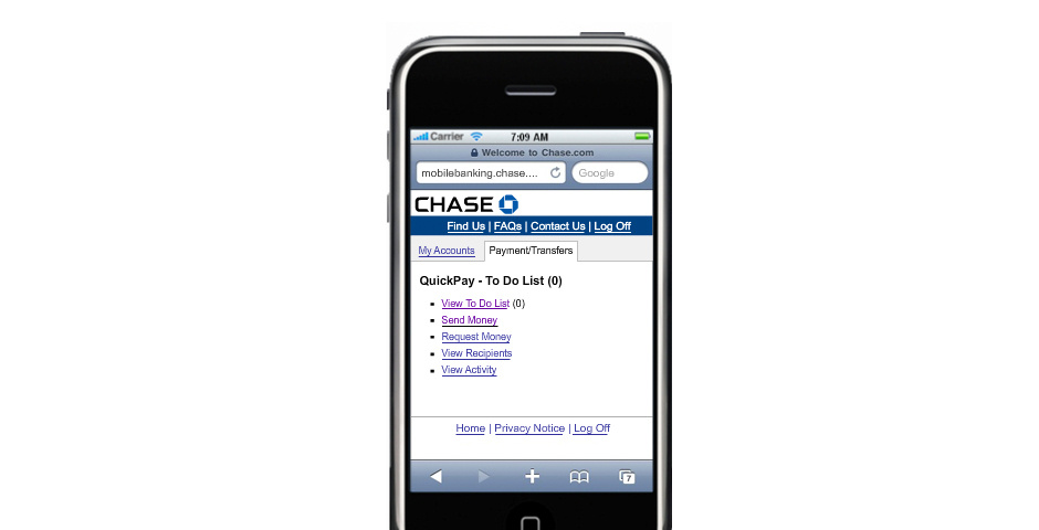 Webby Award Nominee - Chase QuickPay on Mobile Browser