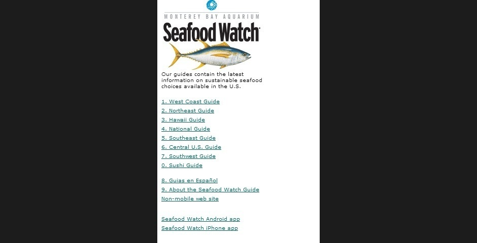 Webby Award Nominee - Seafood Watch Mobile