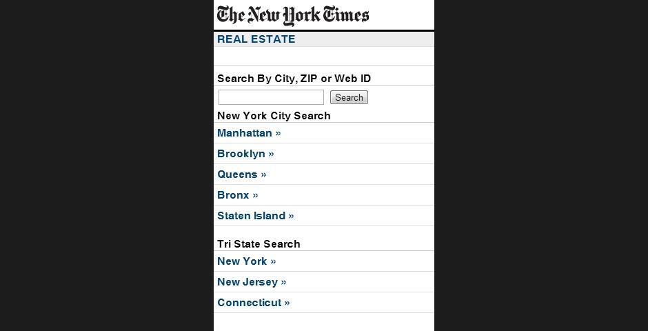 Webby Award Winner - The New York Times Mobile Real Estate Listings