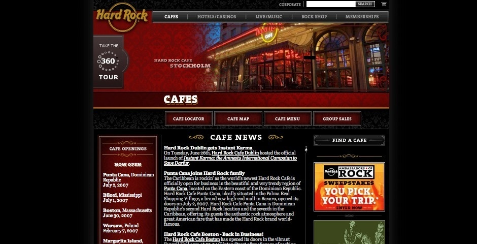 2007 Webby Winner - Hard Rock Cafe