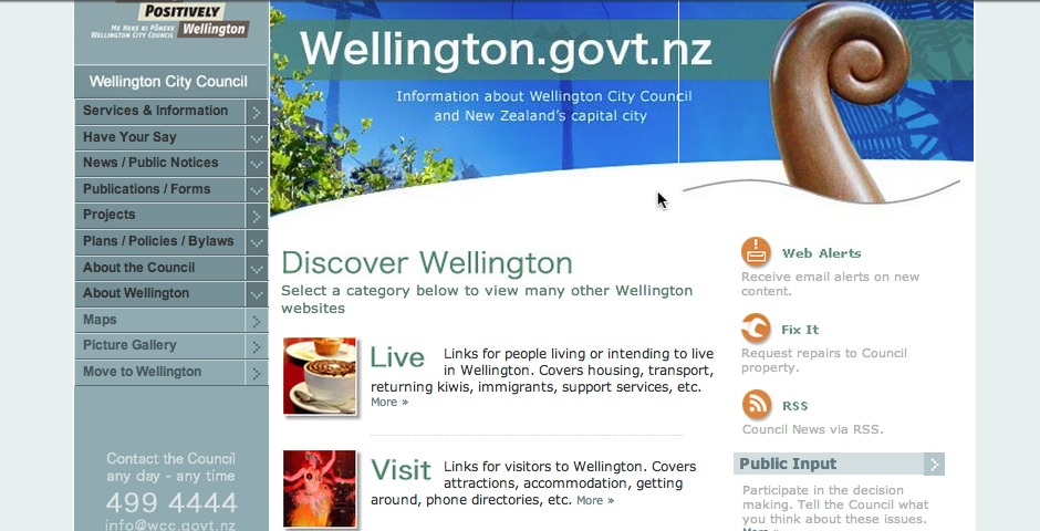 Nominee - Wellington City Council website