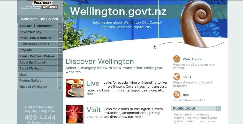 Webby Award Nominee - Wellington City Council website