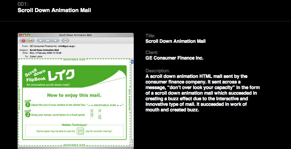 Webby Award Winner - Scroll Down Animation Mail