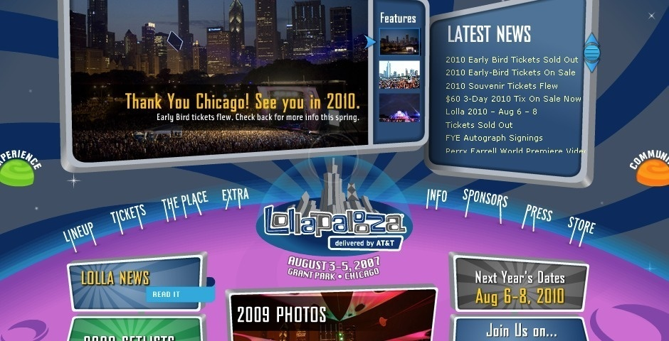 2007 Webby Winner - Lollapalooza