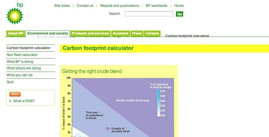 2007 Webby Winner - BP Carbon Footprint  Calculator