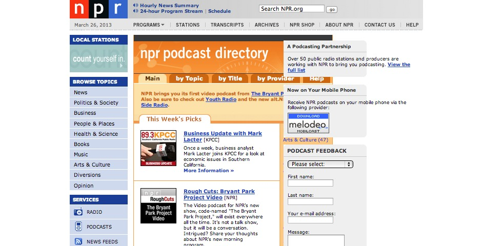 People's Voice / Webby Award Winner - NPR Podcasts