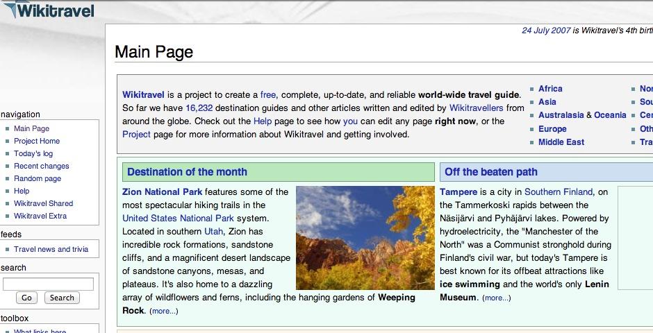 Webby Award Winner - Wikitravel